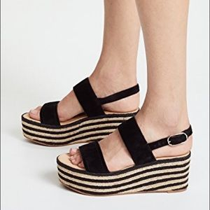 JOIE black suede woven/espadrille wedge sandal